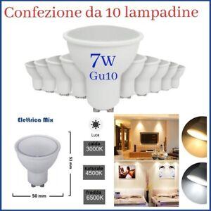 Lampadine led GU10 7w Luce calda naturale fredda 10pezzi per faretto da incasso