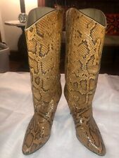 Biondini Womens shoes boots High Heel Brown Snakeskin Size 8