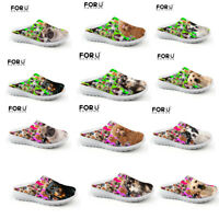 3D Cats Dogs Print  Men's Women's Slippers Shoes Summer Beach Mesh Shoes Slip On