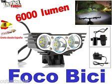 FOCO BICI TRIPE LED 6000LM LINTERNA PARA BICICLETA SENDERISMO 3 x CREE XM-L U2