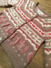 NEW Emma's Garden Pink Toddler Girls Knit Cardigan Sweater Fringe Snaps Size 2T