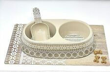 Double Pet Bowl,Food Scoop,Placemat.Food/Water/Mat Set,Moroccan Wood Series