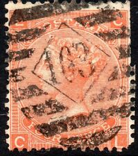 1865 Sg 95 4d deep vermilion 'CL' Plate 12 with Duplex Cancellation Good Used
