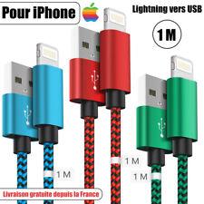 CABLE CHARGEUR POUR IPHONE 6 8 7 6S SE X PLUS XR 11 PRO USB RAPIDE Nylon Tressé