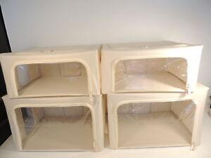 Periea 4 Pack Collapsible Storage Box Organizers 2 Large 2 Medium Tan New