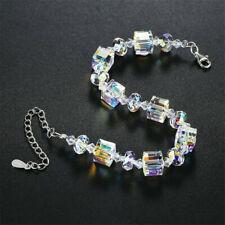 "Cube Bracelet Crystals 925 Silver Wedding Women Bride Jewelry Adjustable 7""-9"""