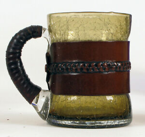 VINTAGE LEATHER WRAPPED CRACKLE GLASS BEER DRINKING MUG MAN CAVE FANCY RARE !!
