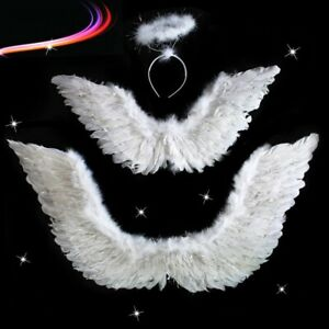 Angel Feather Wings w/Halo Ring Wand Costume Props Adult/Teen/Kids Valentine's