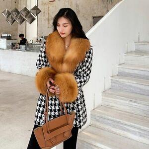 Women's Houndstooth Wool Coat with Fur Collar Long Jacket Warm Overcoat 37938
