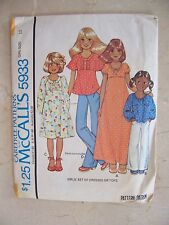 RARE Vtg ''78 McCalls 5933 Smock Dress or Tops Ragan Sleeves Sz 10 UNCUT