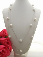 N1303025 52'' 11mm White Bead-Nucleated Pearl Necklace
