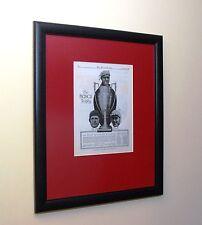 Original 1917 Framed Bosch Auto Racing Trophy Art