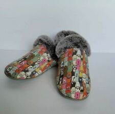 Bobs Sketcher Slippers Size 10 Dogs Print Snuggle Rovers Slip On Memory Foam