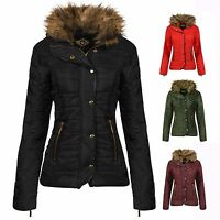 LADIES JACKET NEW WOMENS QUILTED FUR COLLAR PADDED BUTTON ZIP COAT SIZE 8-18