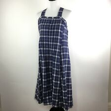 Madewell Plaid Linen Blend Smock Maxi Dress Size XS Button Front Pockets