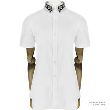 Julien David Ivory Embroidered Collar Pintuck Short-Sleeve Shirt Blouse S UK8