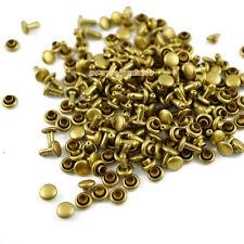 400 set 5*5mm Brass Material Double Cap Round Rapid Rivet Leathercraft Rivet