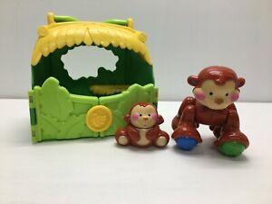 Fisher Price Amazing Animals Mom & Baby Monkey carry Playset EUC