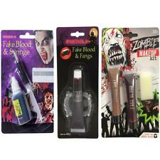 Zombie Makeup Kit Blood and Syringe Fake Blood & Gid Fangs Halloween Fancy Dress