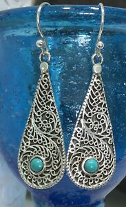 Sterling Silver Solid 925 Ornate Turquoise Dropper Earrings