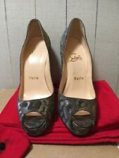 8193cd055a53 New Gold Silver Christian Louboutin Very Prive 120 Lame Size 35.5