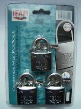 Marina candados 30 mm IFAM marca tres llaves iguales conjunto niebla salina probado almeja PK.