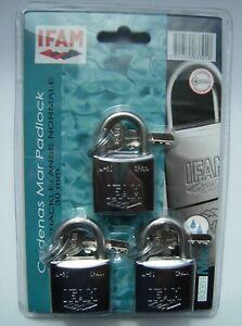 Marine Padlocks 30mm Ifam Brand Three Keyed Alike Set Salt Spray Tested Clam Pk.
