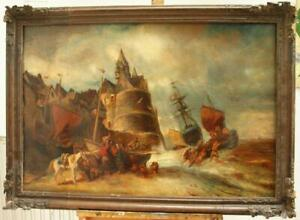 """V/LARGE 19thC """"UNLOADING THE CATCH"""" FRENCH SCHOOL SIGNED Antique Oil Painting"""