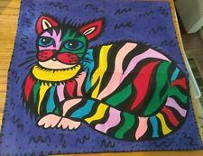 Cute loud multi-colored Cheshire like cat decorative pillow cover case Unique!