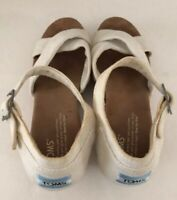 Toms Women's Cork Wedge Heel Platform White Sandals Ankle Strap Shoes Size 8.5