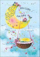Nina Chen*Glückwunschkarte*Baby*Wiege*Mond*Mädchen*Junge*Geburt*Grußkarte*Karte