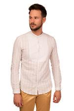 KOON Shirt Size M Linen Blend Striped Long Sleeve Mandarin Collar Round Hem