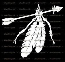 Native American Indian Arrow w/Feathers - Car Vinyl Die-Cut Peel N' Stick Decals