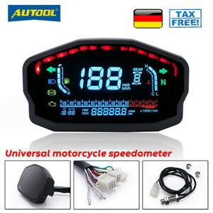 Digitale universal Motorrad Tachometer Drehzahlmesser Kilometerzähler MPH KMH