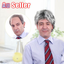 Silver Gray Man Short Wig Fashion Wigs Hairnet Old Men's Elder Hair Full Cosplay