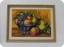 Vintage Framed Needlepoint Fruit Basket Completed- ROYAL PARIS