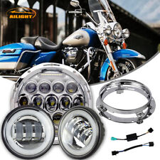 "7"" LED Daymaker Headlight Passing Light Chrome Harley Davidson Touring Road King"