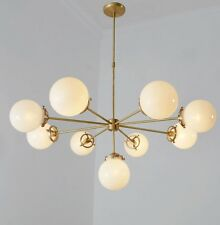 Gorgeous Modernist Chandelier Glass Globe and Brass Pendant Ceiling Light Lamp