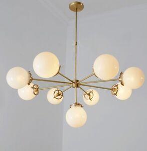 Gorgeous Modernist Chandelier Glass Globe and Brass Pendant Ceiling Light Lamp