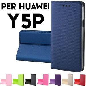Custodia per Huawei Y5P cover tpu a libro portafoglio con chiusura magnetica