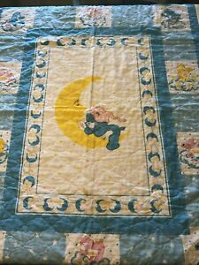 Vintage Care Bears Baby Quilt Blanket Crib Yellow Blue 1983