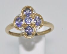 9ct yellow gold antique look tanzanite & diamond cluster ring size P