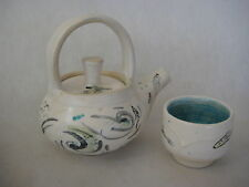 Hand Painted Fishes Art Pottery Teapot & Cup, Signed By Doiron