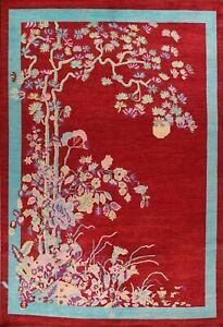 Contemporary Wool/ Silk Floral Oriental Area Rug Handmade Modern Carpet 10x14