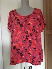 M&S Per Una Range Size 22 Coral Floral Patterned T-Shirt Top