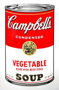ANDY WARHOL Pop Art - Sunday B Morning - Campbell's Soup Can Vegetable + COA