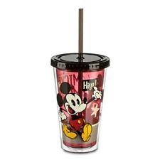 New Disney Store Acrylic Tumbler Mickey Mouse 16 oz with Straw