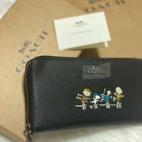 COACH × Snoopy Peanuts long leather wallet limited edition black NEW