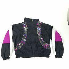 Vintage 90s Reebok Windbreaker Jacket Women's XL Black Multi Nylon Lightweight