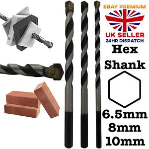 Masonary Drill Bit Hex Shank 6.5mm 8mm 10mm Masonry Hammer Action Brick Concrete